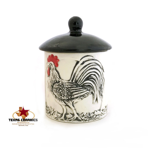 Rooster container with lid in black and white. Holds 12 ounces. Made in the USA.