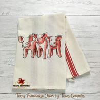 County Farmhouse dish towel with 3 pigs embroidery.