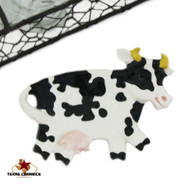 Black and white cow tea bag holder or small spoon rest