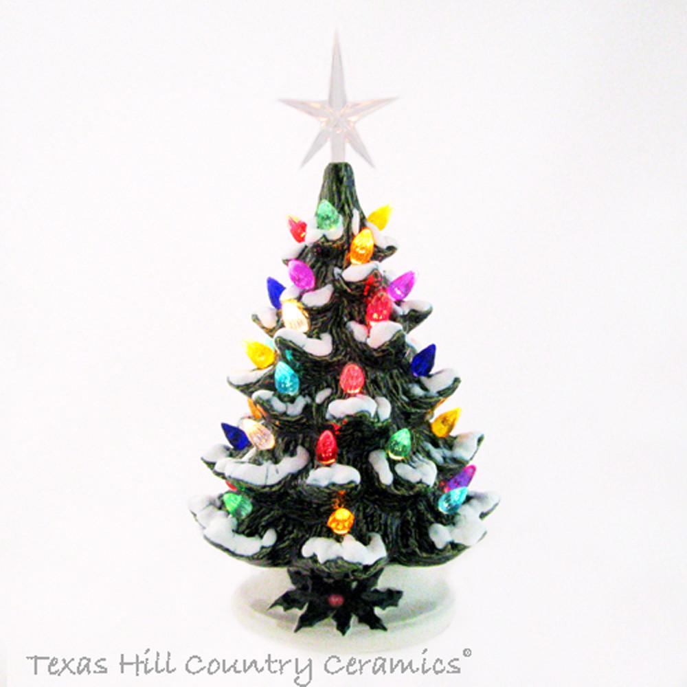 Ceramic Christmas Tree With Snow.Nostalgic Snow Tipped Ceramic Christmas Tree 8 1 2 Inches Tall Colorful Lights Made To Order