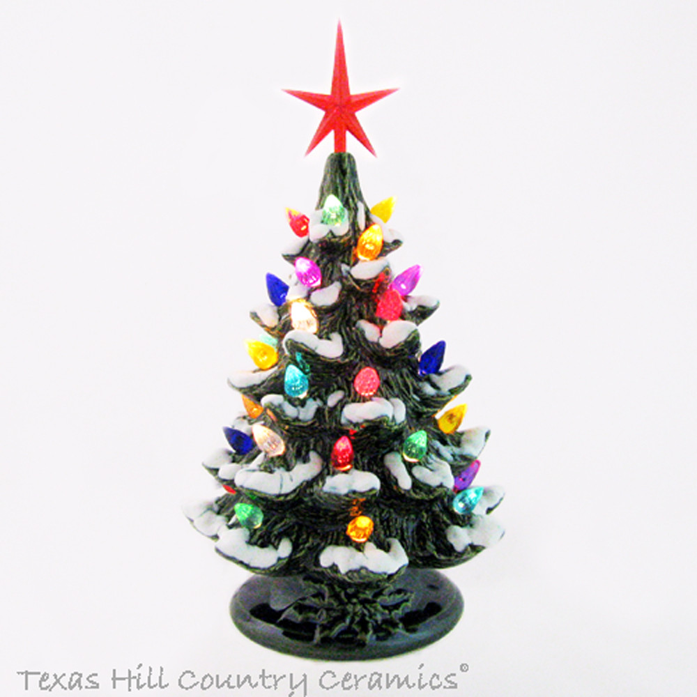 Snowfall At Christmas Ceramic Christmas Tree Color Lights 8 1 2 Inches Tall Made To Order