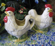 Hen and Rooster Sugar Bowl and Creamer set.