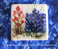Hand made square style refrigerator magnet with Texas Bluebonnets made in the USA