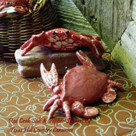 Coral red crab salt & pepper shakers