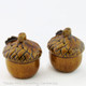 Acorn salt and pepper shakers in rich brown are made in the USA.