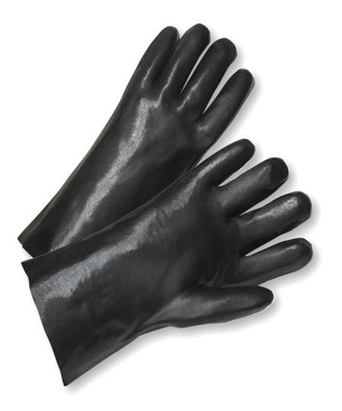 "12"" / 14"" Black Fully Coated PVC Work Gloves  ## 265 ##"