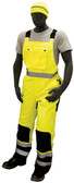 High visibility yellow/black quilted, insulated waterproof bib overall ##75-2357 ##