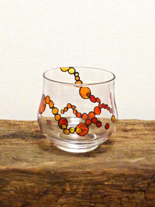 Hand Painted Glass Candle Holder - Golden Orange, Ruby & Tangerine Design