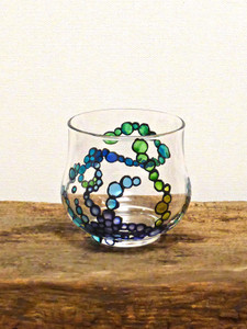 SOLD - Hand Painted Glass Candle Holder - Aqua, Lavender, Turquoise & Sea Green Design