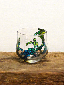 Hand Painted Glass Candle Holder - Midnight Blue Flower Design