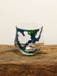 SOLD - Hand Painted Glass Candle Holder - Heart Design