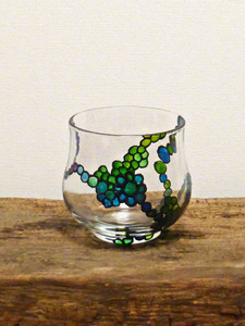 Hand Painted Glass Candle Holder - Blue & Green Spiral Design