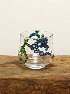 SOLD - Hand Painted Glass Candle Holder - Lilac, Mint, Deep & Sky Blue Design
