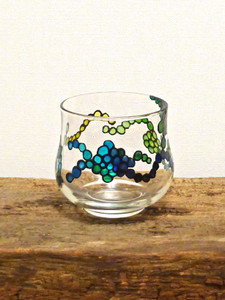 Hand Painted Glass Candle Holder - Blue & Green Ripple Design