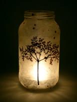 SOLD - Lokta Paper - Black Lace Elderflower Lantern