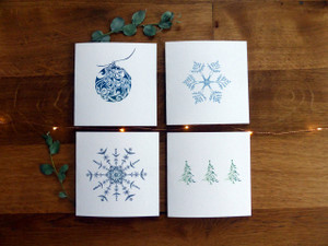 Bauble, Snowflake, Snowflower & Christmas Trees – Pack of 12  ( 3 x 4 designs )
