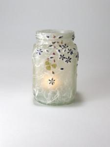 SOLD - Lavender Daisies & Clover Lantern
