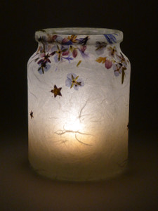 SOLD - Blue Flower & Star Lantern