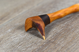 Hand Crafted Sculpted Black Walnut & Yew Wood Hair Pin