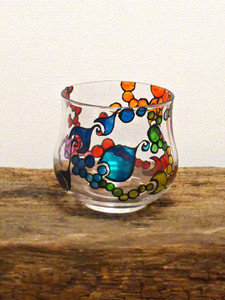 SOLD - Hand Painted Glass Candle Holder - Rainbow Wave Design