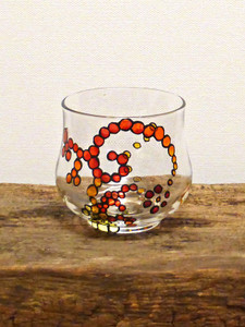 Hand Painted Glass Candle Holder - Crimson, Amber, Deep Yellow & Lemon Design