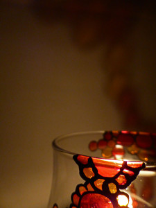 Hand Painted Glass Candle Holder - Red, Amber & Deep Yellow Design