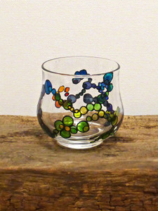 Hand Painted Glass Candle Holder - Rainbow Spiral Design