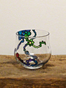 SOLD - Hand Painted Glass Candle Holder - Rainbow Flower Design