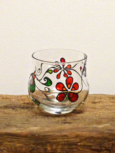 SOLD - Hand Painted Glass Candle Holder - Summer Flowers Design