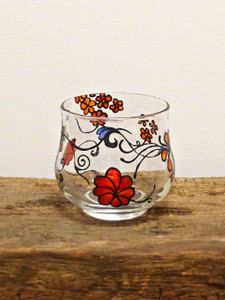 SOLD - Hand Painted Glass Candle Holder - Red & Orange Flower Design