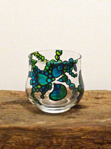 SOLD - Hand Painted Glass Candle Holder - Bottle Green & Teal Flower Design