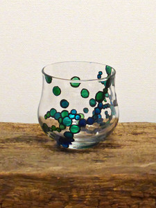 Hand Painted Glass Candle Holder - Violet Blue, Teal & Apple Mint Green Design