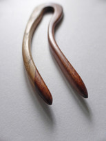 SOLD - Handcrafted Oak & Mahogany Hair Fork, Reclaimed Wood