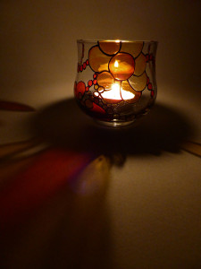 SOLD - Hand Painted Glass Candle Holder - Mandarin Orange Flower Design