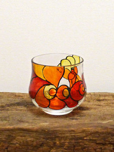 SOLD - Hand Painted Glass Candle Holder - Scarlet, Amber, Orange, Lemon & Crimson Design