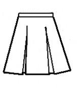 Stitch-Down Box Pleat Skirt Half Sizes