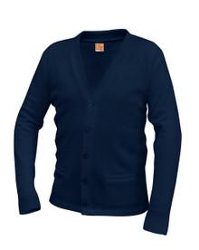 Sweater Cardigan with Pocket Bu V-Neck with School Logo