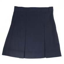 Stitch-Down Box Pleat Skirt-Navy