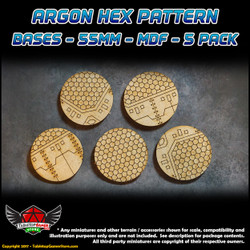 Argon Hex Pattern Bases - 55mm - MDF - 5 Pack