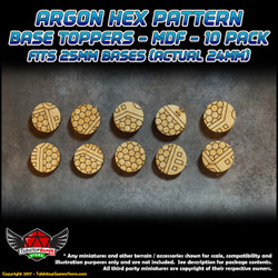 Argon Hex Pattern Base Toppers - Fits 25mm Bases - 24mm Actual - MDF - 10 Pack