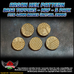 Argon Hex Pattern Base Toppers - Fits 40mm Bases - 39mm Actual - MDF - 5 Pack