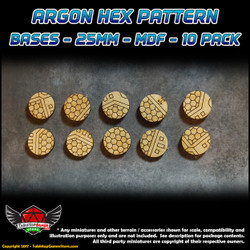 Argon Hex Pattern Bases - 25mm - MDF - 10 Pack
