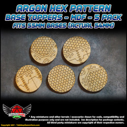 Argon Hex Pattern Base Toppers - Fits 55mm Bases - 54mm Actual - MDF - 5 Pack