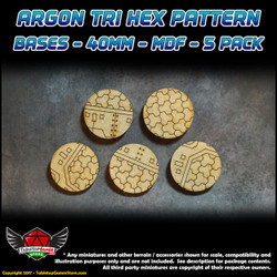 Argon Tri-Hex Pattern Bases - 40mm - MDF - 5 Pack