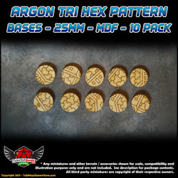 Argon Tri-Hex Pattern Bases - 25mm - MDF - 10 Pack
