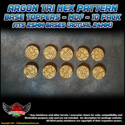 Argon Tri-Hex Pattern Base Toppers - Fits 25mm Bases - 24mm Actual - MDF - 10 Pack