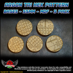 Argon Tri-Hex Pattern Bases - 55mm - MDF - 5 Pack