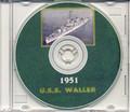 USS Waller DDE 466 World CRUISE BOOK Log Korea 1951 CD