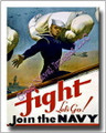 US Navy WWII Fight Lets Go  Recruiting Canvas Print 2D