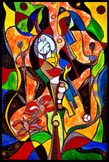 """Illusion of Time"" - CONTEMPORARY ORIGINAL ACRYLIC ""S/M"" PAINTING ON CANVAS"